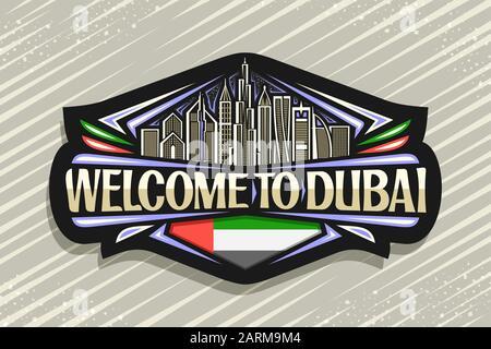 Vector logo for Dubai, black decorative signage with draw illustration of modern dubai cityscape on evening sky background, tourist fridge magnet with - Stock Photo