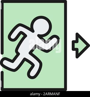 Emergency exit, man running out sign flat color line icon. - Stock Photo