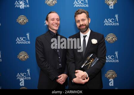 (L-R) Bartosz Bielenia and Jarin Blaschke attends the 34th Annual American Society of Cinematographers ASC Awards at Ray Dolby Ballroom in Los Angeles, California, USA, on 25 January 2020. - Stock Photo
