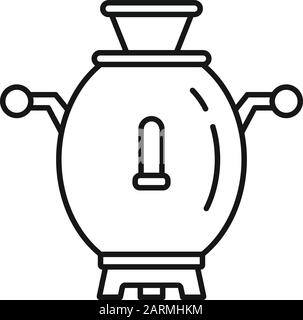 Russia samovar icon. Outline Russia samovar vector icon for web design isolated on white background - Stock Photo