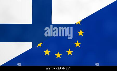 Finnish and Europe split flag. Brexit concept of Finland leaving European Union. - Stock Photo