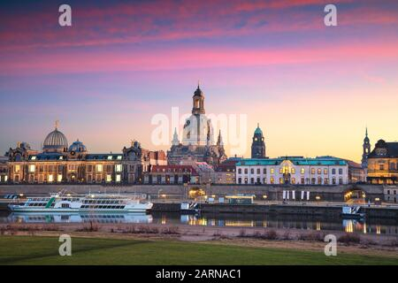 Dresden, Germany. Cityscape image of skyline Dresden, Germany with Dresden Cathedral during beautiful sunset. - Stock Photo