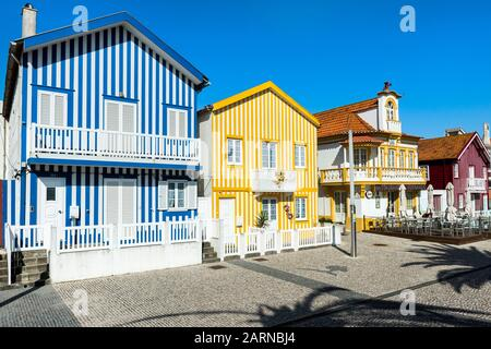 Palheiros typical houses, Costa Nova Beach, Aveiro, Venice of Portugal, Beira Littoral, Portugal - Stock Photo