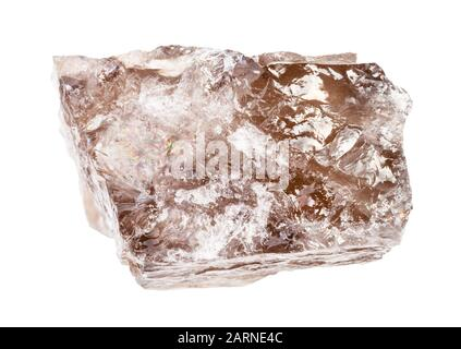 closeup of sample of natural mineral from geological collection - raw smoky quartz rock isolated on white background - Stock Photo
