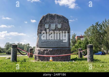 Battle of Kirchholm monument in Salaspils city, Republic of Latvia. In 1605 Polish-Lithuanian-Courland armies defeated Swedish forces - Stock Photo