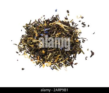 Dry tea with herbs isolated on white background. Mix green tea. Pile of mixed black and green tea with dry rosehip berries, calendula, petal. - Stock Photo
