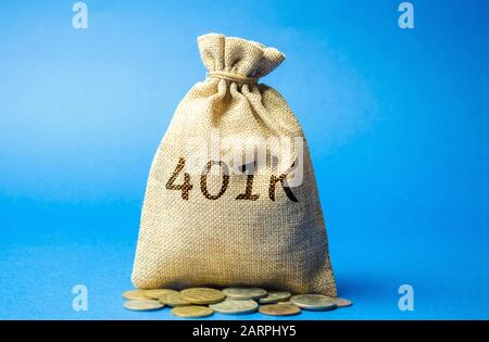 Money bag with coins 401k. Private pension plan. Tax-qualified. Business and finance concept. Retirement Plan. Savings, save - Stock Photo