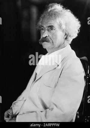 Vintage portrait photo of American writer and humourist Samuel Langhorne Clemens (1835 – 1910), better known by his pen name of Mark Twain. Photo circa 1905 by Bain News Service. - Stock Photo