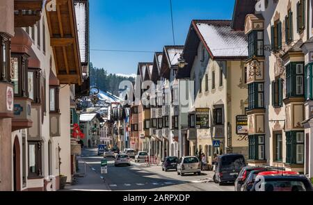 Brenner Strasse in Matrei am Brenner, town between Innsbruck and Brenner Pass, Tyrol, Austria - Stock Photo
