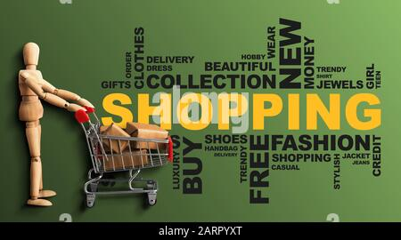 Shopping Wordcloud Collage With Wooden Man On Green Background, Panorama - Stock Photo