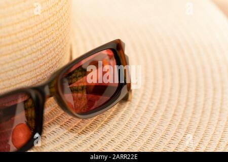 Sunglassess and straw hat symbolize vacations and traveling to warm countries. Tropical fruits are reflected in sunshades. Color image with copy space