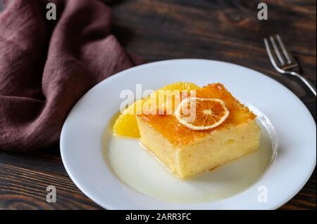 Portokalopita - Greek phyllo orange cake - Stock Photo