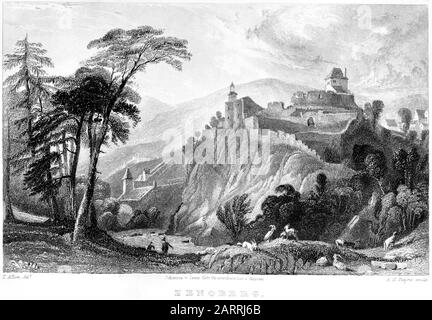 An engraving of Zenoberg scanned at high resolution from a book printed in 1836. This image is believed to be free of all copyright restrictions. - Stock Photo