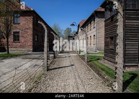 A view of the deserted buildings in the Auschwitz concentration camp in Poland now a memorial to the Jewish Holocaust - Stock Photo