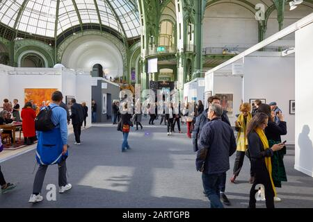 PARIS - NOVEMBER 7, 2019: Paris Photo art fair with people, terrace and galleries at Grand Palais in Paris, France. - Stock Photo