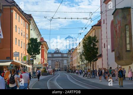 Innsbruck, Austria - August 19, 2019: Tram tracks in downtown Innsbruck, Austria, on a sunny Summer day. - Stock Photo