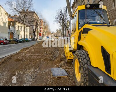 Kresimir street unfinished reconstruction Kresimirova ulica in Rijeka in Croatia 01.2020 - Stock Photo