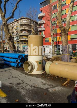 Kresimir street unfinished reconstruction Kresimirova ulica in Rijeka in Croatia 01.2020 - Stock Photo