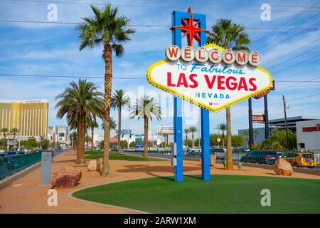 The 'Welcome to Las Vegas' Sign on the Strip, Las Vegas Stock Photo