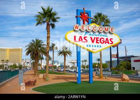 The Welcome to Las Vegas Sign. Las Vegas, Nevada. - Stock Photo