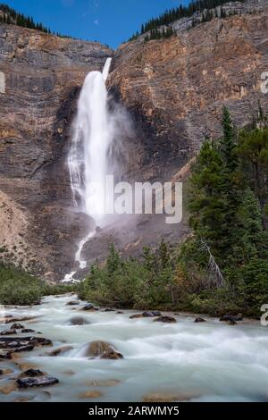 Takakkaw Falls, Yoho National Park, The Rockies, British Columbia, Canada - Stock Photo