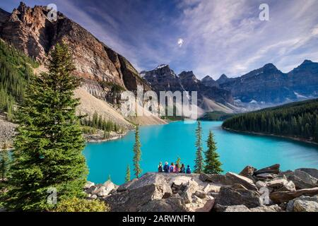 Admiring the View from The Rockpile, Moraine Lake, Valley of the Ten Peaks, Banff National Park, Canadian Rockies, Alberta, Canada - Stock Photo