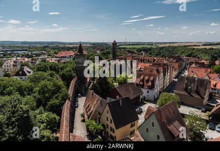 Rothenburg ob der Tauber, Bavaria / Germany - 08 08 2018: Panoramic view over old town as seen  from the Roeder tower - Stock Photo