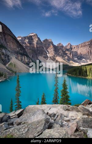 Moraine Lake and the Valley of the Ten Peaks, Banff National Park, Alberta, Canada - Stock Photo