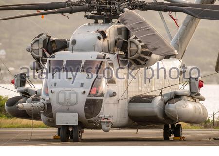 Sikorsky CH-53 Sea Stallion tied down, Marine Corps Base Hawaii, Kaneohe, Honolulu, Oahu, Hawaii, USA - Stock Photo