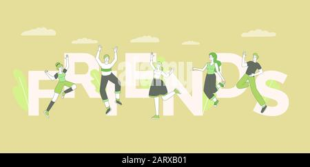 Friends word concept banner vector template. Friendly relationship, community concept, friendship day celebration poster design with typography. Joyful young adults, cheerful people jumping in air