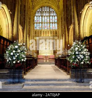 Interior of Sherborne Abbey from the nave - Stock Photo