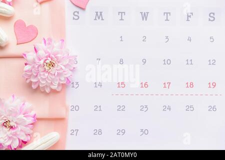 Menstrual calendar with feminine products, top view - Stock Photo