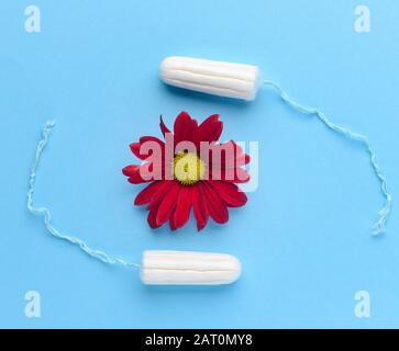 Tampons with flower on color background. Menstruation concept - Stock Photo