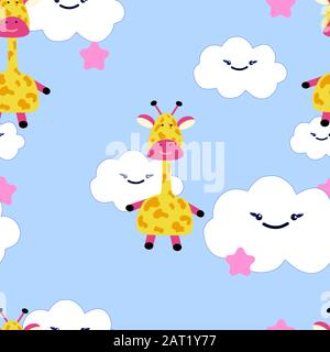 Giraffes, hand drawn backdrop. Colorful seamless pattern with animals. Decorative cute wallpaper, good for printing. Overlapping background vector - Stock Photo