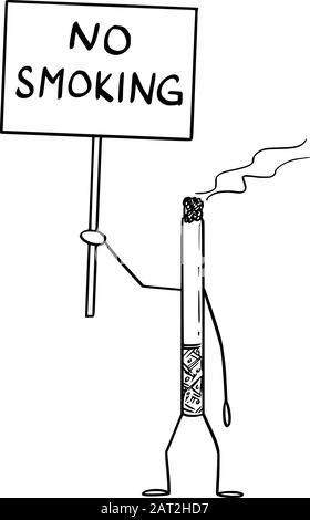 Vector illustration of cartoon burning cigarette character holding no smoking sign in hand. Tobacco or nicotine prohibition design. - Stock Photo