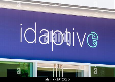 July 30, 2019 Santa Clara / CA / USA - Idaptive logo at their hedquarters in Silicon Valley; Idaptive is a new organization that has been spun out of - Stock Photo