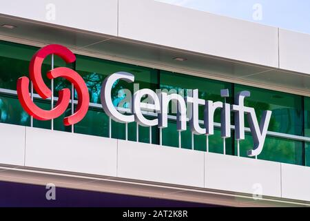 July 30, 2019 Santa Clara / CA / USA - Centrify logo at their hedquarters in Silicon Valley; Centrify Corporation is an American cybersecurity company - Stock Photo