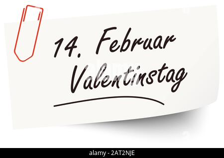 Reminder February 14 Valentine's Day on little white paper (text in german) - Stock Photo