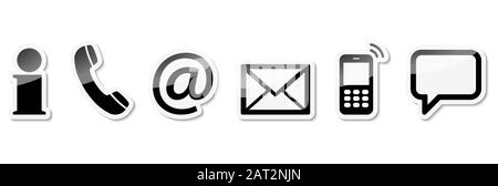 Contact Us, set of six black colored icons with white frame and shadow Stock Photo