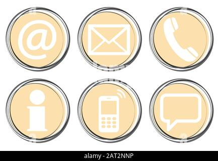 Contact Us, set of six white icons in round colored buttons