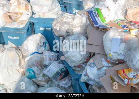 Durban- South Africa-January 2020- A close up view of bags and bags of household rubbish