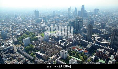 aerial view of the London City skyline from the Barbican / Clerkenwell area in London EC1Y - Stock Photo