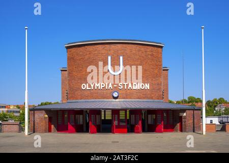 Berlin, Berlin state / Germany - 2018/07/31: Facade of the of the Olympia-Stadion metro station near the historic Olympiastadion sports stadium originally constructed for the Summer Olympic in 1936 - Stock Photo