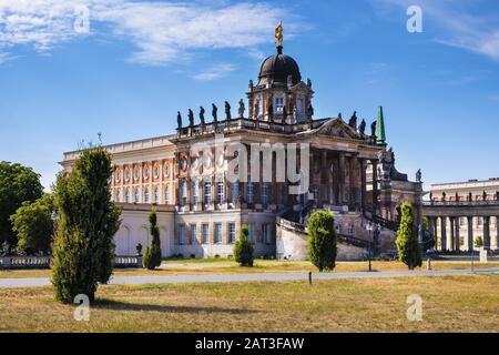 Potsdam, Brandenburg / Germany - 2018/07/29: Historic buildings of the Potsdam University - Communs - baroque annexes of the royal New Palace in the Sanssouci Park complex - Stock Photo