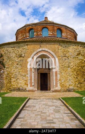Perugia, Umbria / Italy - 2018/05/28: V century Early Christianity St. Michel Archangel Church - Chiesa di San Michele Arcangelo in Perugia historic quarter - Stock Photo