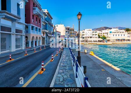 Morning view of Agios Nikolaos streets. Picturesque town of the island Crete, Greece. Image - Stock Photo