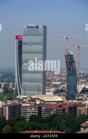 Panoramic view of Milan from the Torre Branca in Parco Sempione, Lombardy, Italy, Europe - Stock Photo