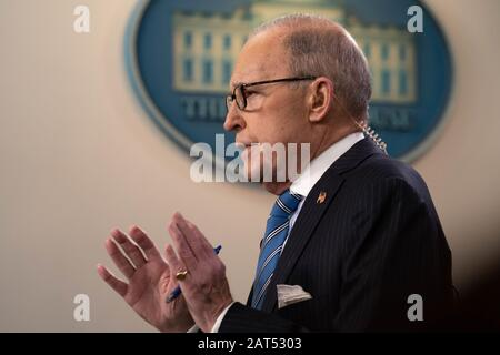 Washington, United States. 30th Jan, 2020. Larry Kudlow, Director of the National Economic Council, in the Brady Press Briefing Room speaks during a television interview at the White House in Washington, DC on Thursday, January 30, 2020. Photo by Ken Cedeno/UPI Credit: UPI/Alamy Live News - Stock Photo