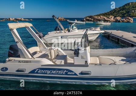 Boats moored at Plage de Palombaggia, beach near Porto Vecchio, Corse-du-Sud, Corsica, France - Stock Photo