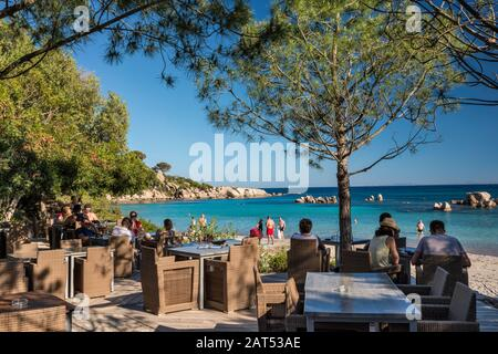 Outdoor cafe at Plage de Palombaggia, beach near Porto Vecchio, Corse-du-Sud, Corsica, France - Stock Photo
